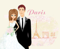 Wedding couple in Paris Stock Images