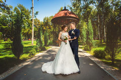 Wedding couple in park near arbor. Wedding couple in summer park in front of decorative arbor Royalty Free Stock Photos