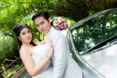 Wedding couple in the park in thailand Stock Image