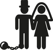 Wedding Couple pictogram man with shackle and iron ball. Vector Stock Image