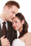 Wedding couple. Portrait hugging bride and groom Royalty Free Stock Photo