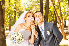 Wedding couple posing with stick lips, mask stock image