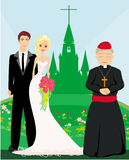 Wedding couple and the priest in front of a church Royalty Free Stock Images
