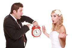 Wedding couple quarreling conflict bad relationships Stock Image