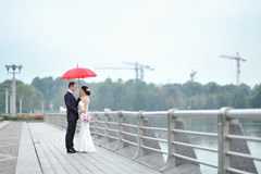 Wedding couple in a rainy day Stock Photography