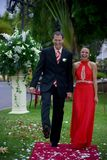 Wedding couple on red carpet Stock Photography
