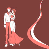 Wedding couple. red vector Royalty Free Stock Photo