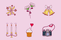 Wedding couple relationship marriage nuptial icons design ceremony celebration and holliday folk icons beauty hand drawn Royalty Free Stock Photo