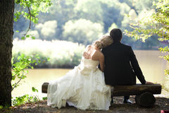 Wedding couple. Relax in nature royalty free stock image