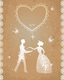Wedding couple in retro style. Wedding couple, sparkling and shining. Retro style, fireflies as symbol of happiness and romance. EPS10 Stock Images