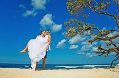 Wedding couple. Romantic couple kissing on the beach Royalty Free Stock Image