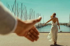 Happy wedding couple. Wedding couple romantic sea scene stock photos