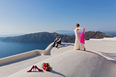 Wedding couple on the roof Stock Photos