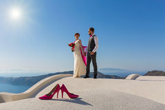 Wedding couple on the roof Royalty Free Stock Photo