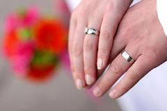 Wedding couple's hands stock photos