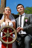 Wedding couple sailing antique ship Royalty Free Stock Photography