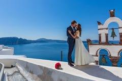 Wedding couple on Santorini Stock Photography