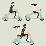 Wedding couple on scooter Stock Photography