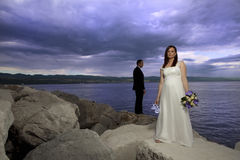 Wedding couple by the sea Stock Photo