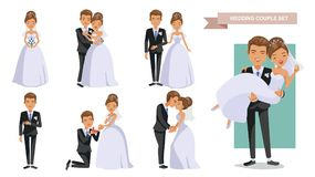 Wedding. Couple Set of characters bride and groom.Cartoon  illustration Stock Photography