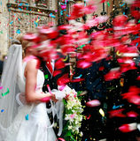 Wedding.couple with shower of rose petals Royalty Free Stock Image