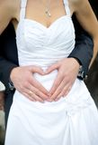 Wedding Couple showing Heart Royalty Free Stock Image