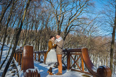 Wedding couple in a showy wither day, holding each other, standing on the bridge. rustic style. short wedding dress. Girl brunette Stock Images