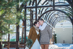 Wedding couple in a showy wither day, walking, geometry. rustic style  short wedding dress. Girl brunette. beautiful bride Royalty Free Stock Photography