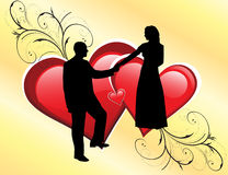 Wedding couple silhouette. Vector wedding couple silhouette on red hearts background Royalty Free Stock Photo