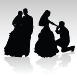 Wedding couple silhouette Royalty Free Stock Photos