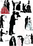 Wedding couple silhouette collection. Illustration with wedding couple silhouettes isolated on white background Stock Images