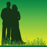 Wedding couple silhouette in green color Stock Photos