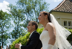 Wedding couple smile, look after flying dove Royalty Free Stock Photography