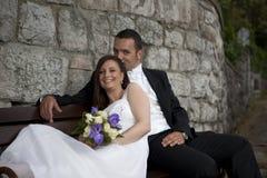 Wedding couple smiling stock images