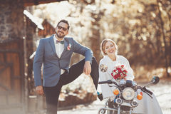 Wedding couple spending their sunny auttumn happy day Stock Images