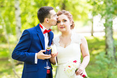 Wedding couple in spring nature Royalty Free Stock Images