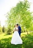 Wedding couple in spring nature Stock Photos
