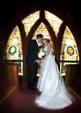 Wedding couple stained glass window Royalty Free Stock Images