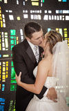 Wedding couple stained glass window Stock Photography