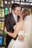 Wedding couple stained glass window Royalty Free Stock Photo