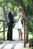 Wedding couple standing in bridge royalty free stock photography