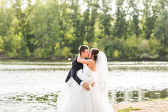 Wedding couple standing and kissing near lake. Royalty Free Stock Photos