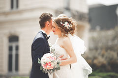 Wedding couple is standing and kissing in the streets of old city Royalty Free Stock Images