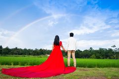 Wedding couple standing under rainbow curve blue sky Stock Photo