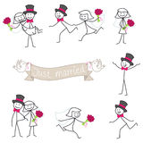 Wedding couple stickman bride and groom. Set of stick figures: Wedding couple stick man, bride and groom Royalty Free Stock Photography