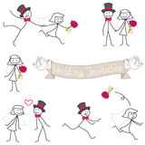 Wedding couple stickman bride and groom Stock Images