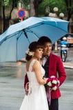 Wedding couple on the streets of Ho Chi Minh City, Vietnam Royalty Free Stock Photo