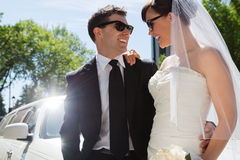 Wedding Couple with Sunglasses Royalty Free Stock Photography