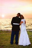 Wedding couple at sunset Royalty Free Stock Image