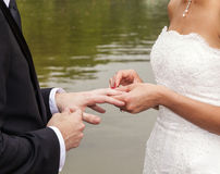 Wedding couple are swearing Royalty Free Stock Photo